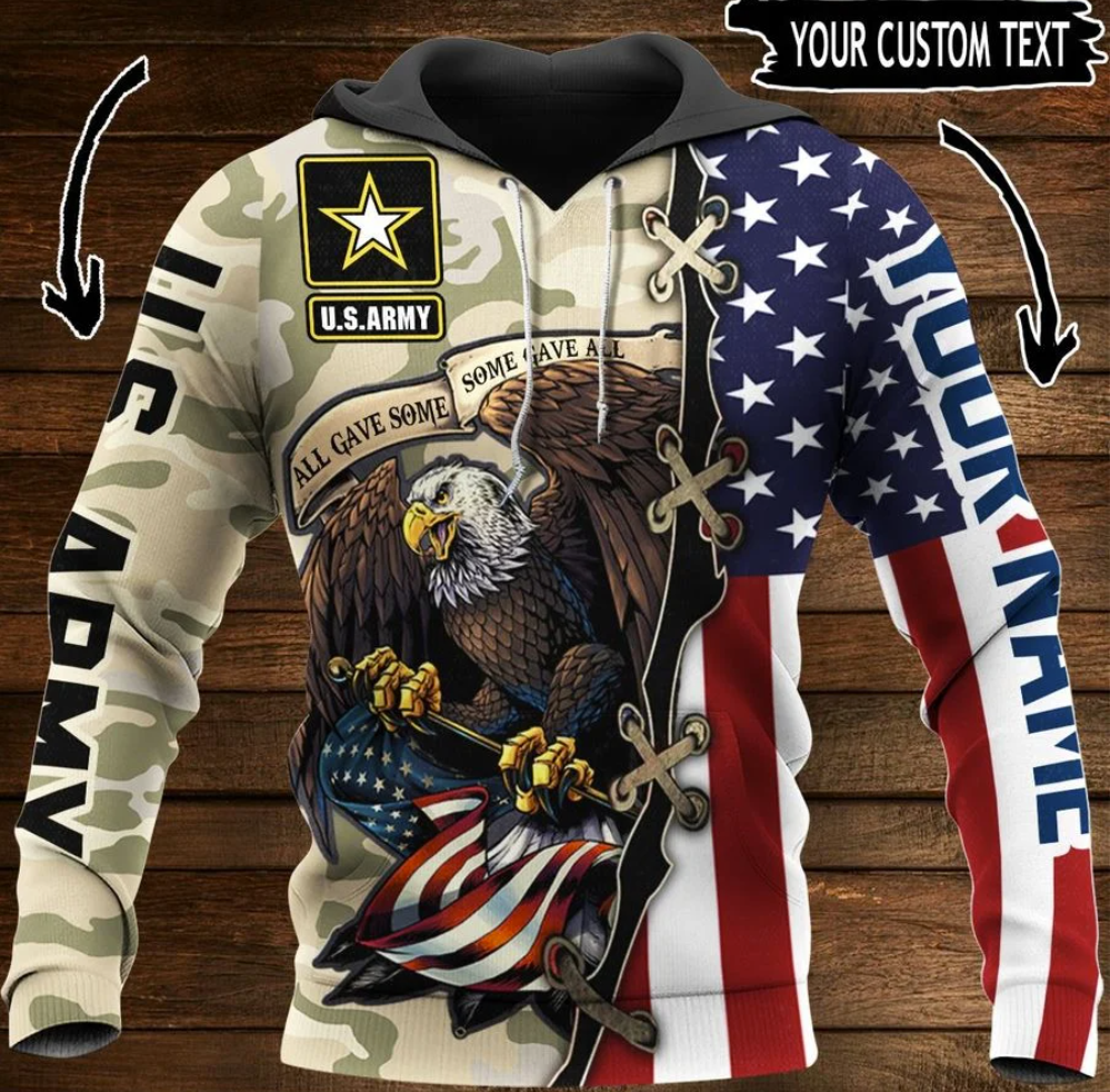 US Army all gave some some gave all all over printed 3D hoodie