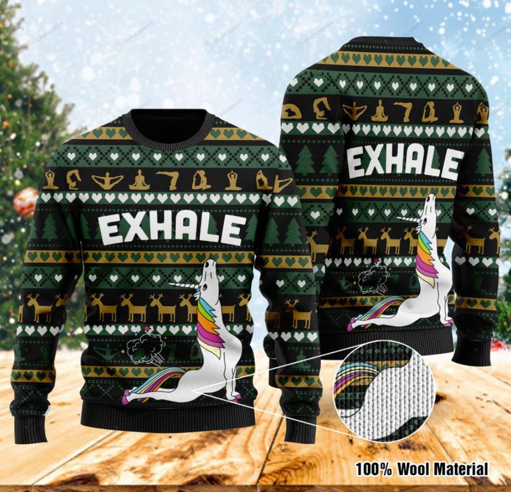 Unicorn yoga exhale ugly sweater