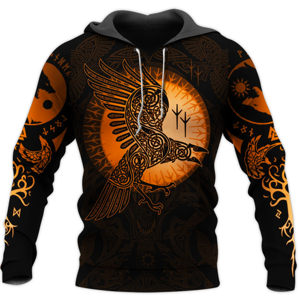Viking Eagles tattoo all over printed 3D hoodie