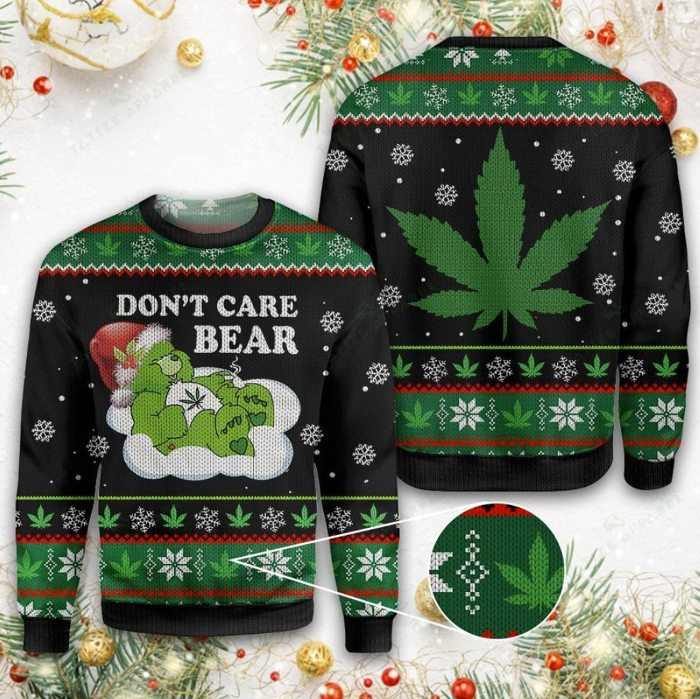 Weed don't care bear ugly sweater
