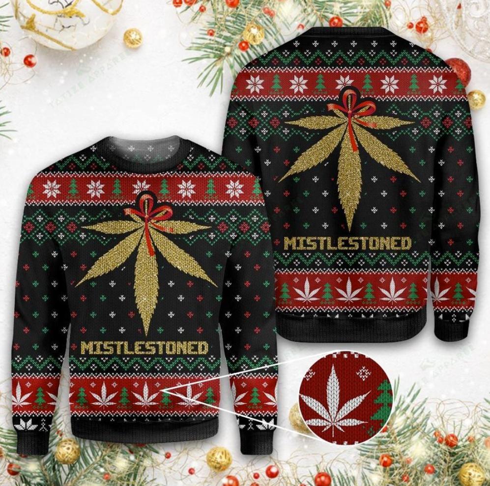 Weed mistlestoned ugly sweater
