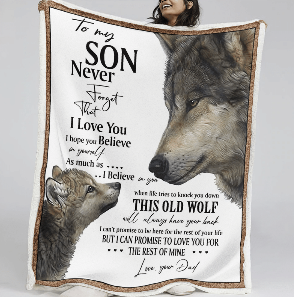 Wolf your dad to my son never forget that i love you quilt 1