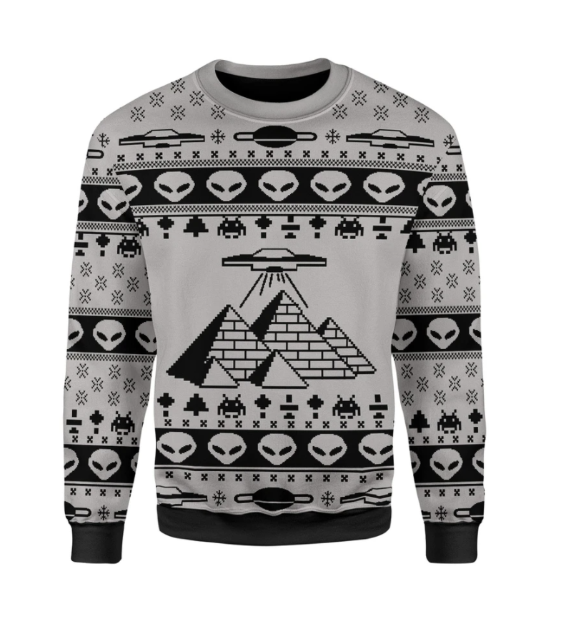 Ancient Alien Pyramid ugly sweater