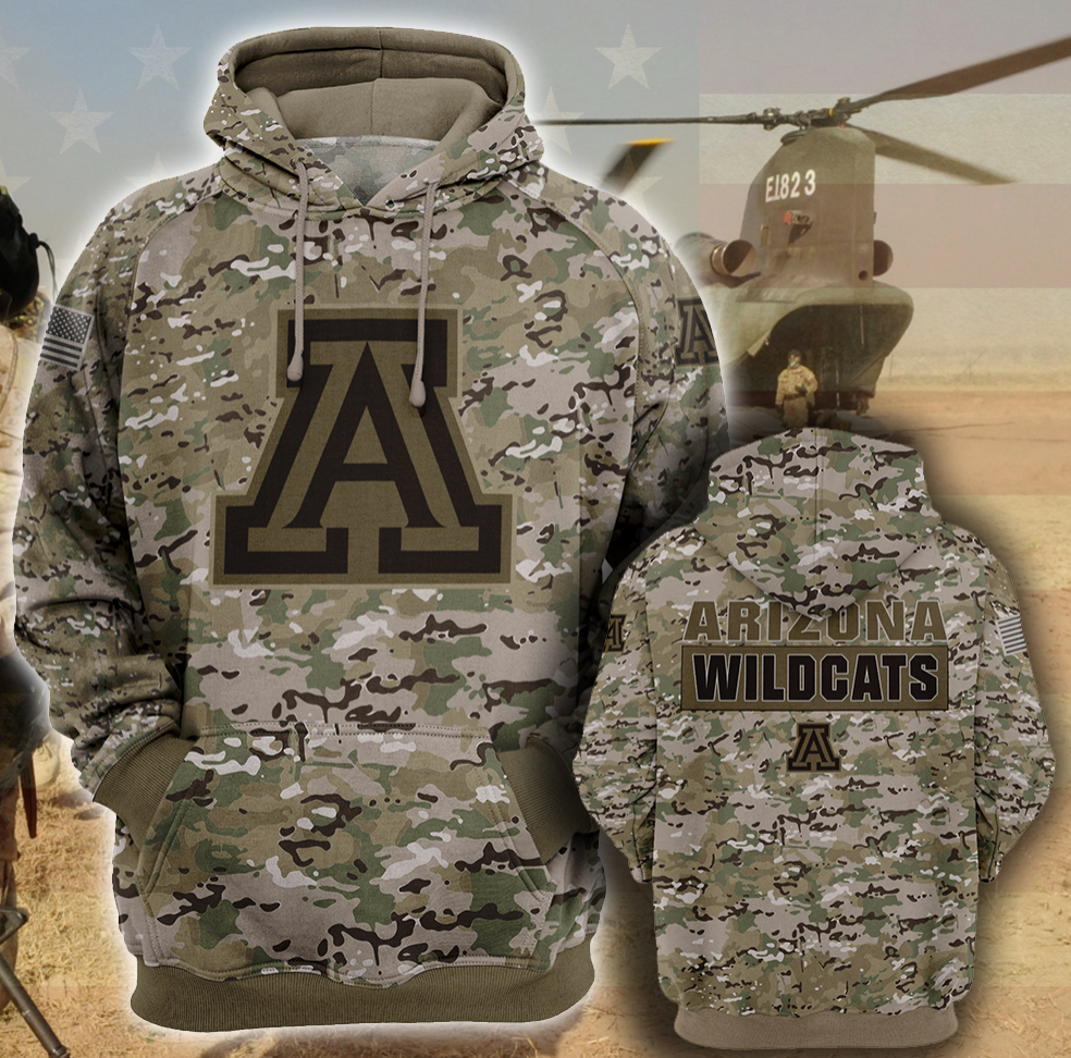 Army camo Arizona Wildcats all over printed 3D hoodie