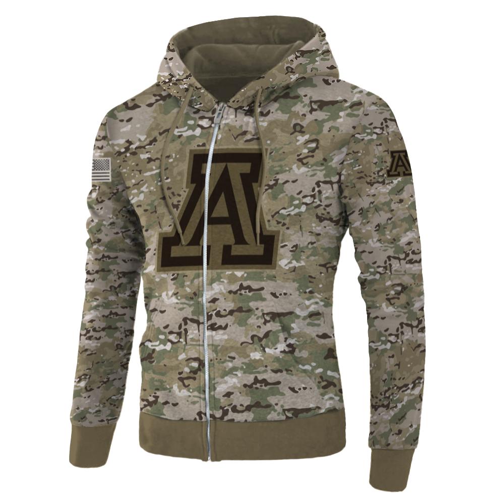 Army camo Arizona Wildcats all over printed 3D zip hoodie