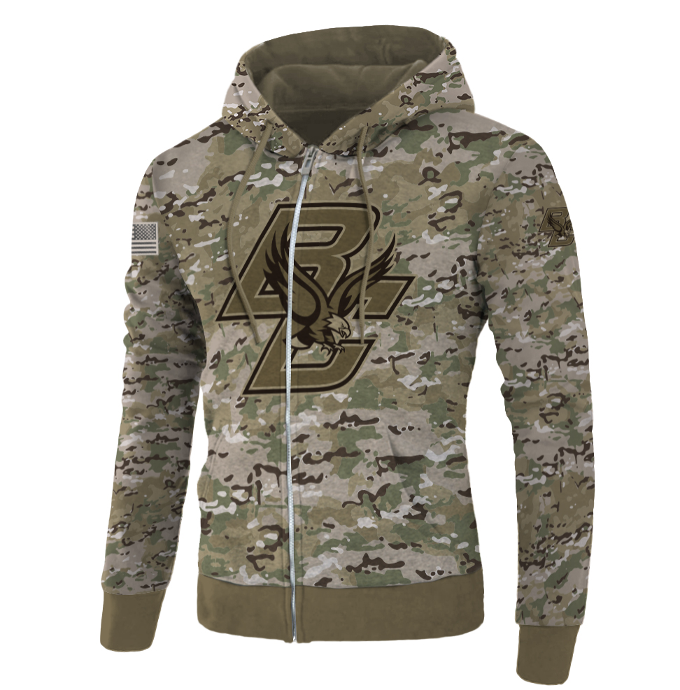 Army camo Boston College Eagles all over printed 3D zip hoodie