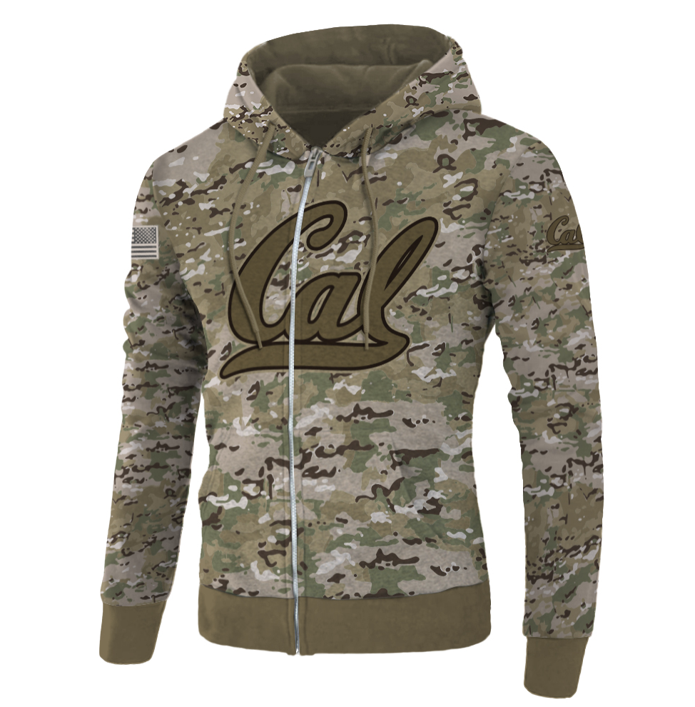 Army camo California Golden Bears all over printed 3D zip hoodie