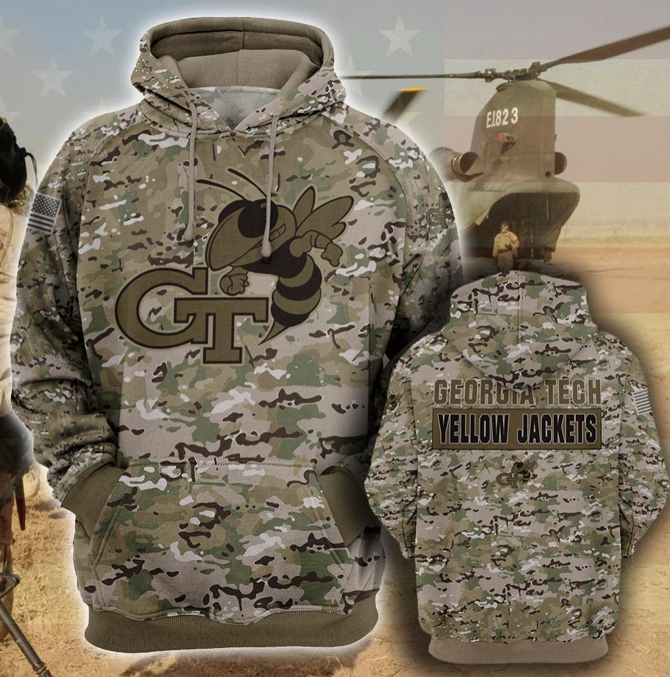 Army camo Georgia Tech Yellow all over printed 3D hoodie
