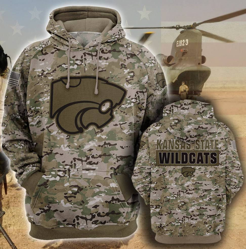 Army camo Kansas State Wildcats all over printed 3D hoodie
