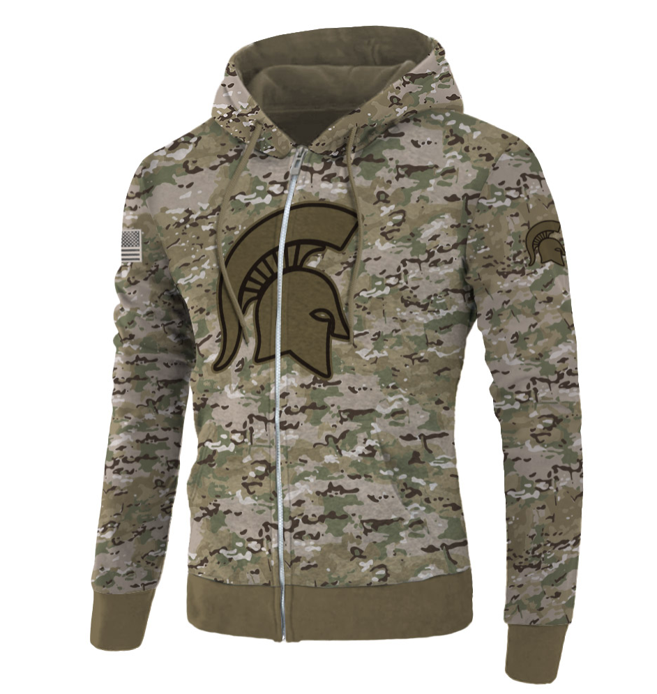 Army camo Michigan State Spartans all over printed 3D zip hoodie