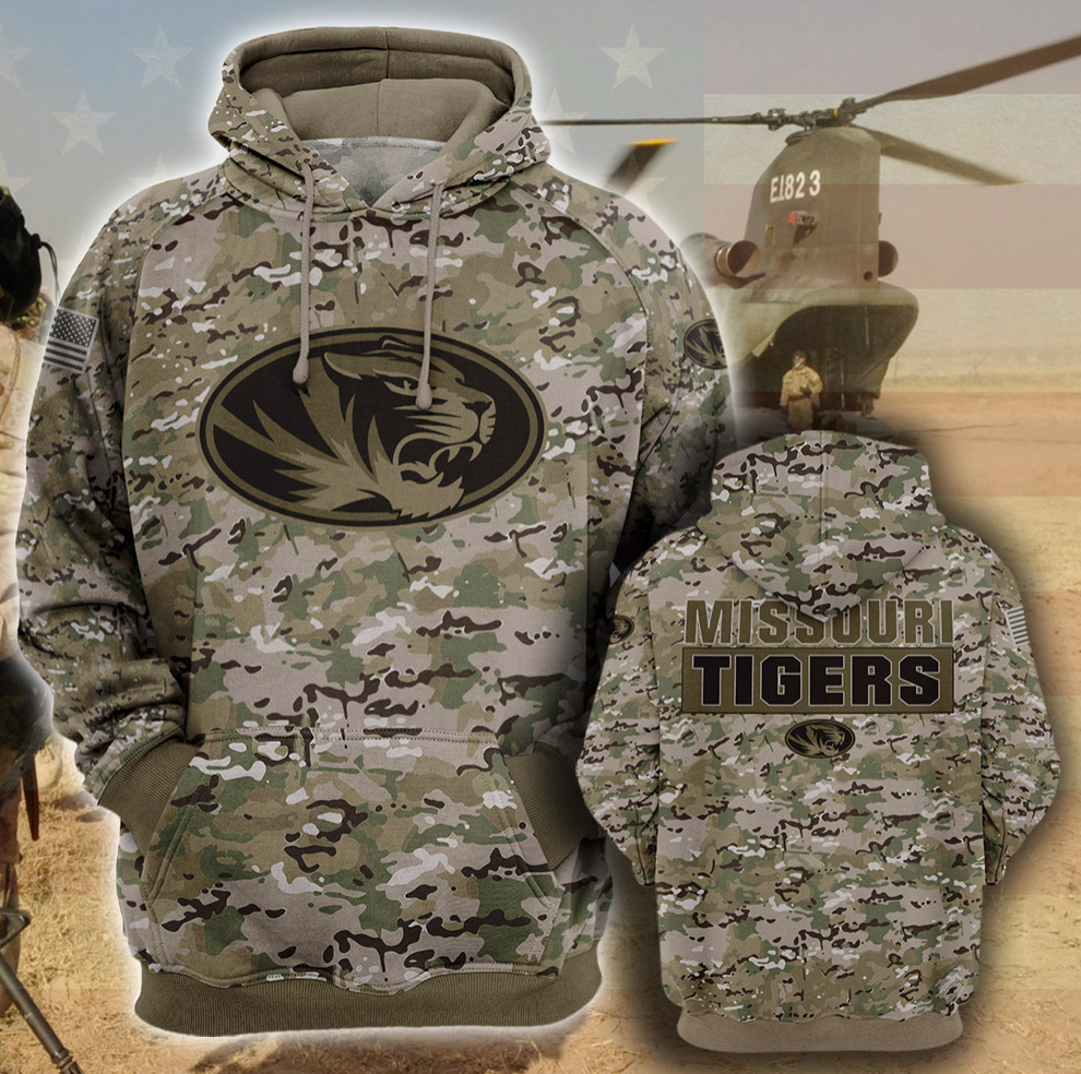 Army camo Missouri Tigers all over printed 3D hoodie