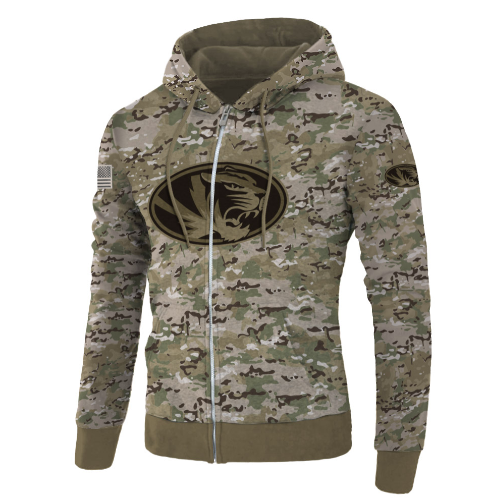 Army camo Missouri Tigers all over printed 3D zip hoodie