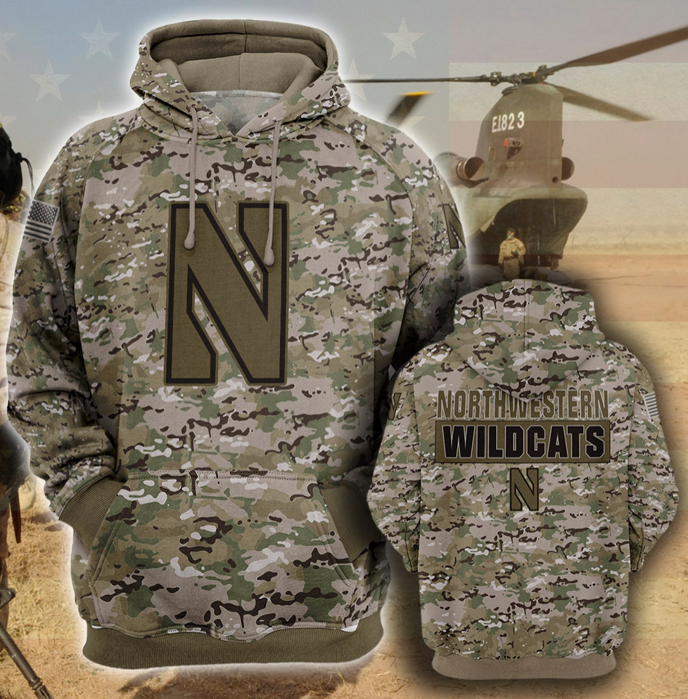 Army camo Northwestern Wildcats all over printed 3D hoodie