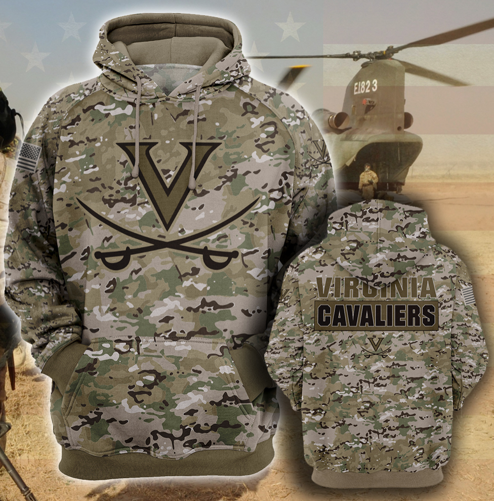 Army camo Virginia Cavaliers all over printed 3D hoodie