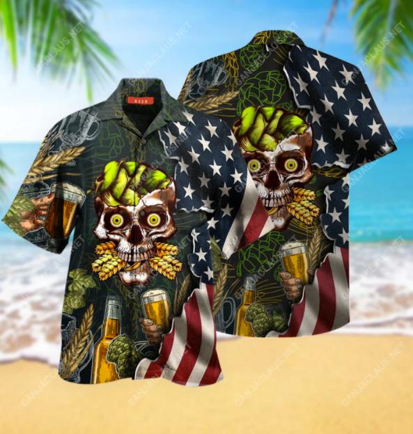 Beer skull hawaiian shirt