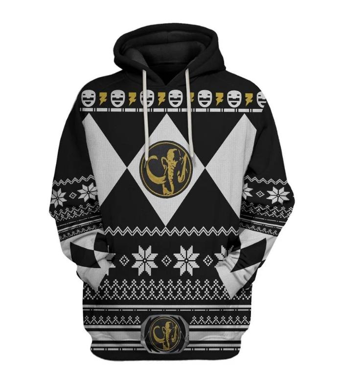 Black power ranger all over printed 3D hoodie