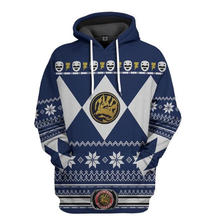 Blue power ranger all over printed 3D hoodie
