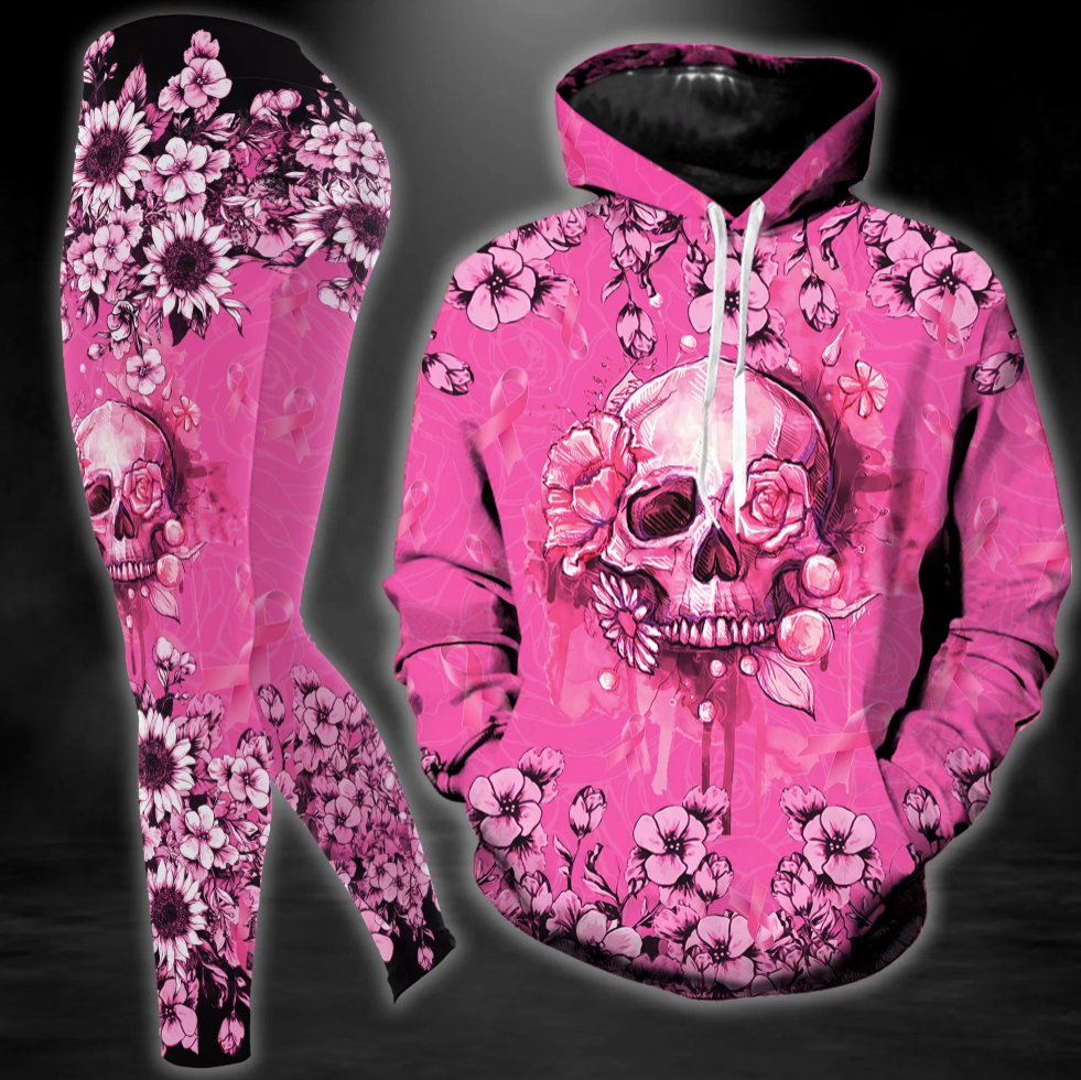 Breast cancer awareness floral skull all over printed hoodie and legging