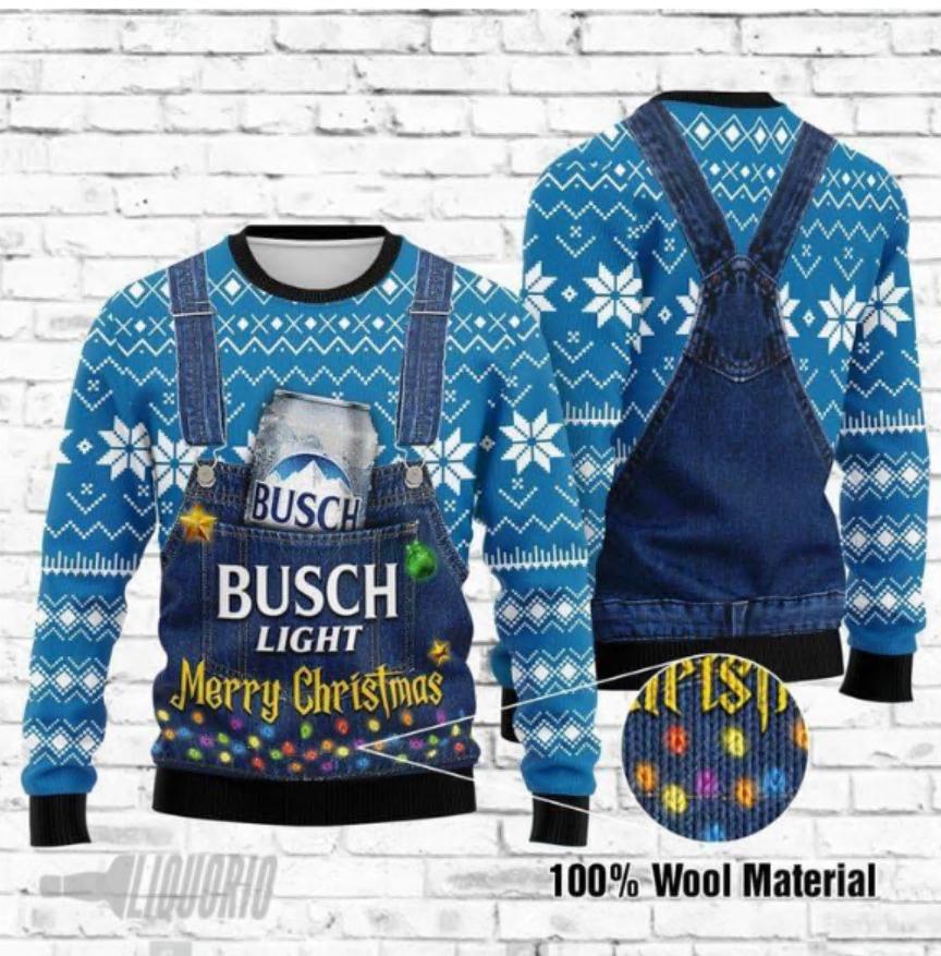 Busch light Merry Christmas ugly sweater