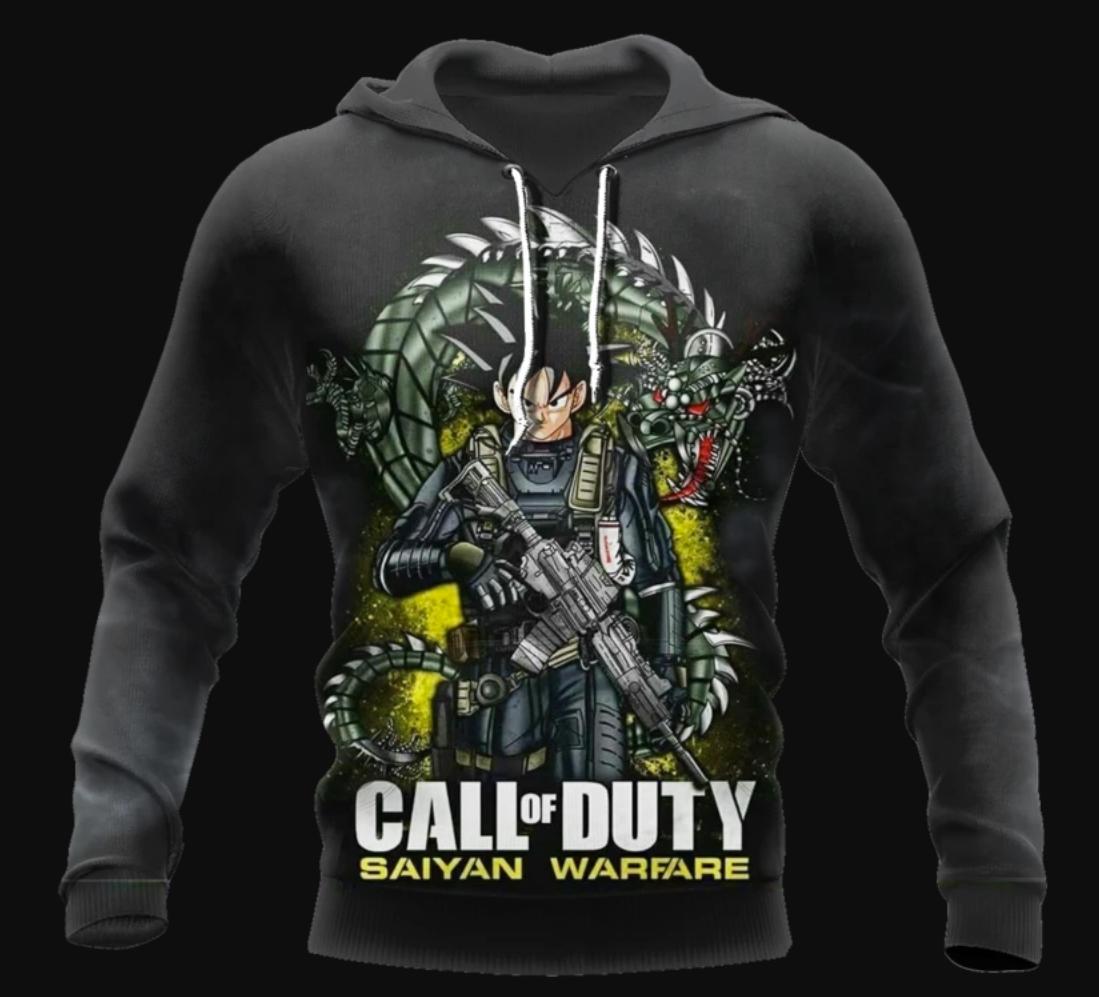 Call of Duty saiyan warfare all over printed 3D hoodie