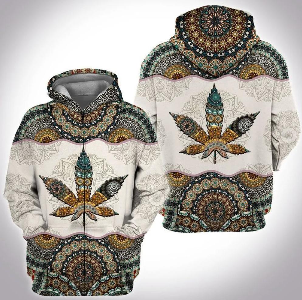 Cannabis mandala all over printed 3D zip hoodie