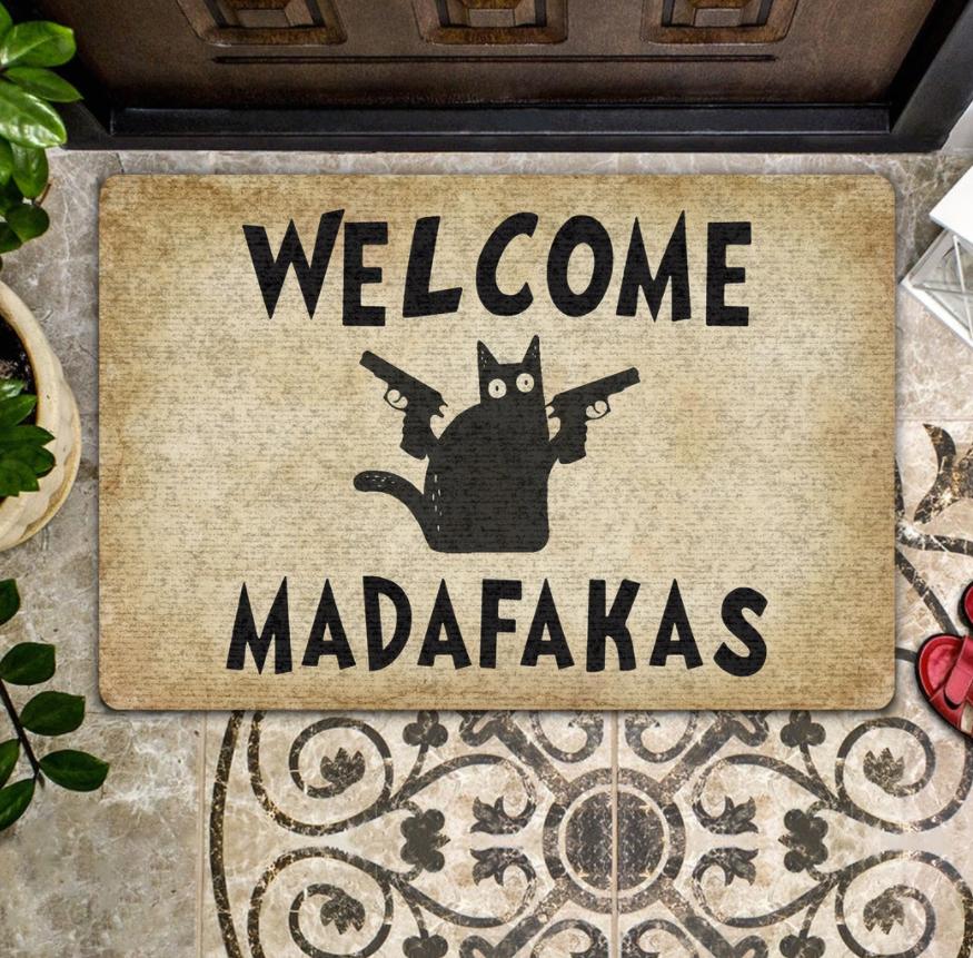 Cat welcome madafakas doormat