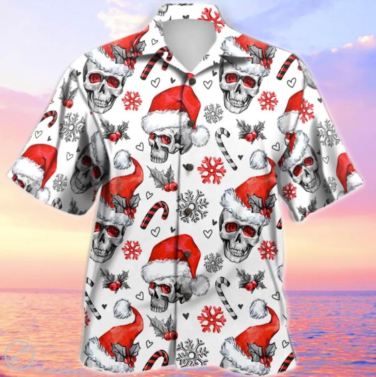 Christmas skull hawaiian shirt