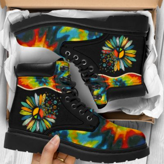 Colorful hippie sunflower timberland boots