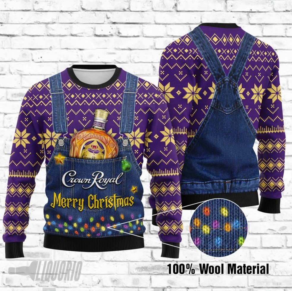 Crown Royal Merry Christmas ugly sweater