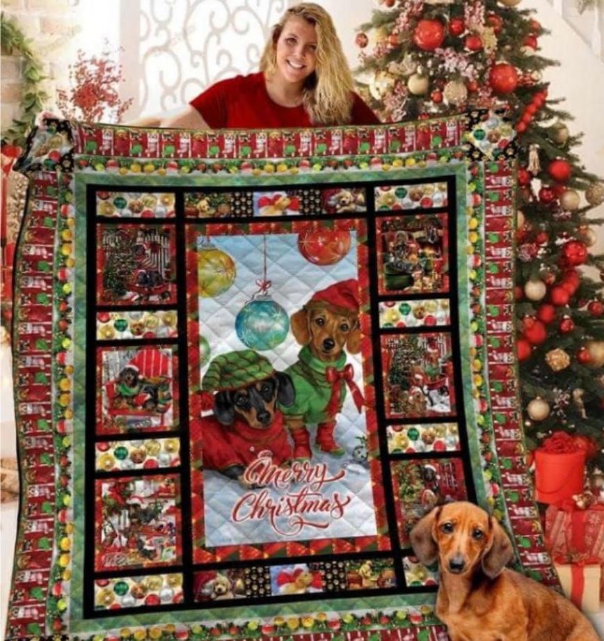 Dachshund Merry Christmas quilt