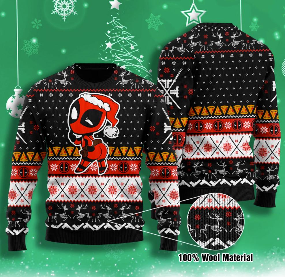 Deadpool Merry kiss my ass ugly sweater
