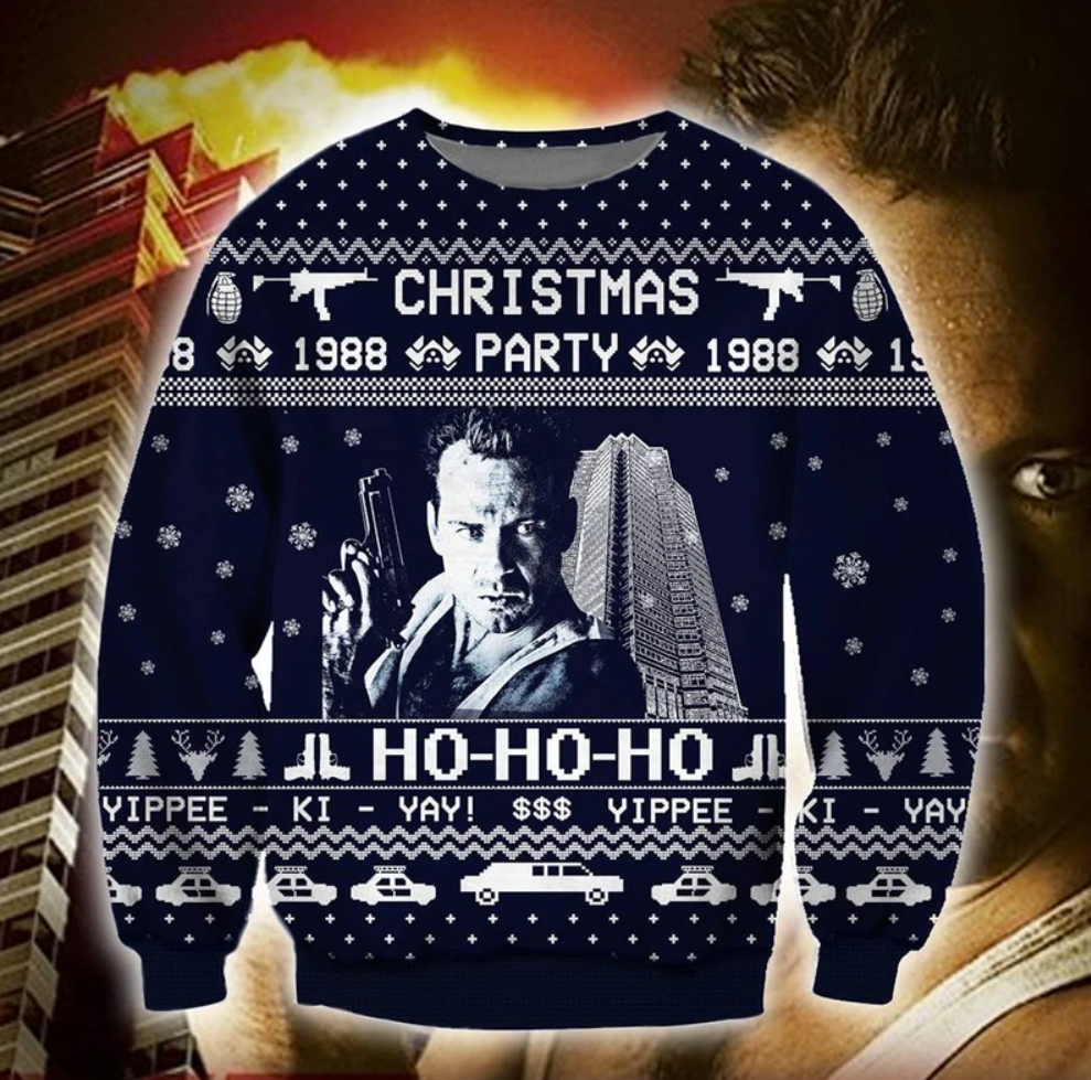Die Hard Christmas party 1988 3D ugly sweater