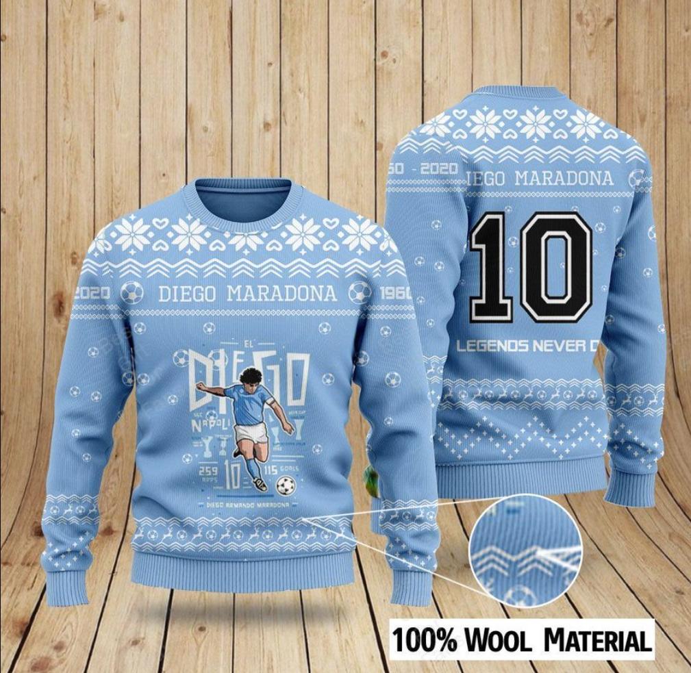 Diego Maradona 10 legends never die ugly sweater