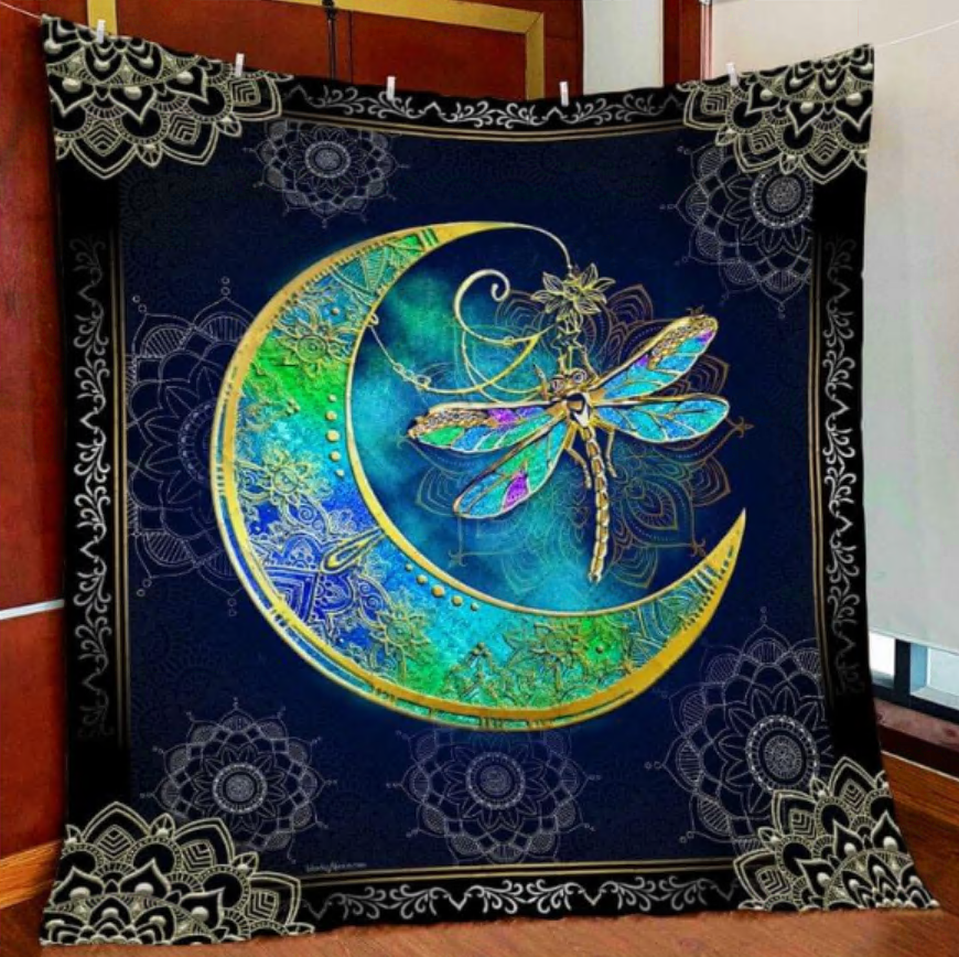 Dragon and moon quilt