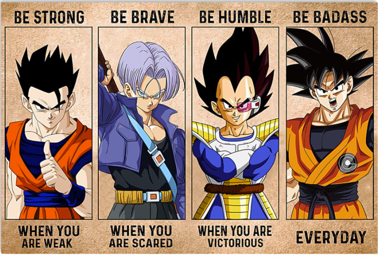 Dragon ball be strong when you are weak be brave when you are scared poster