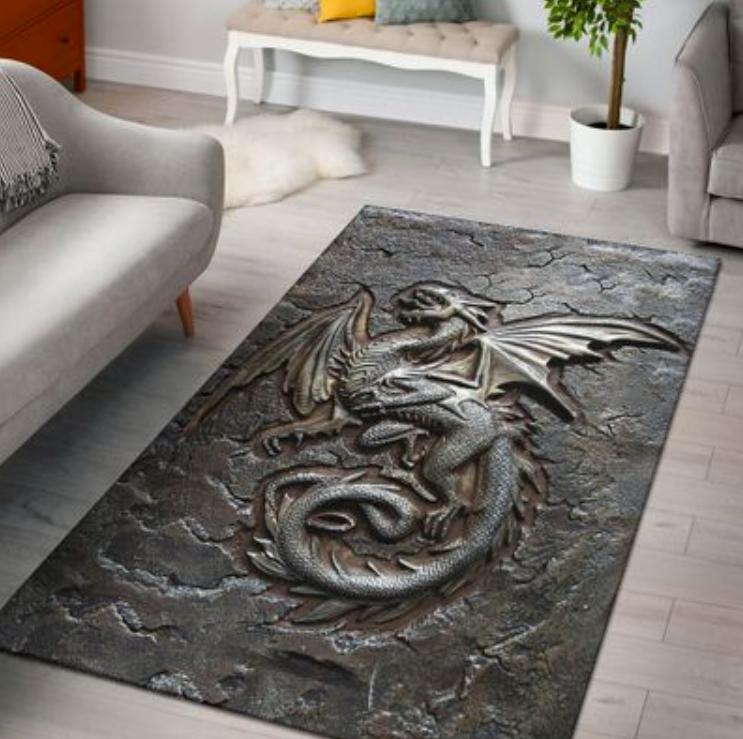 Dragon cracks metal rug