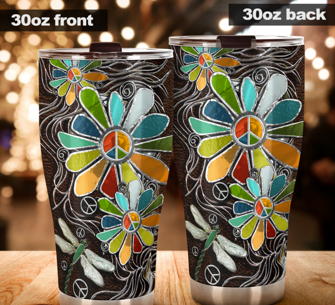 Dragonfly and hippie sunflower tumbler