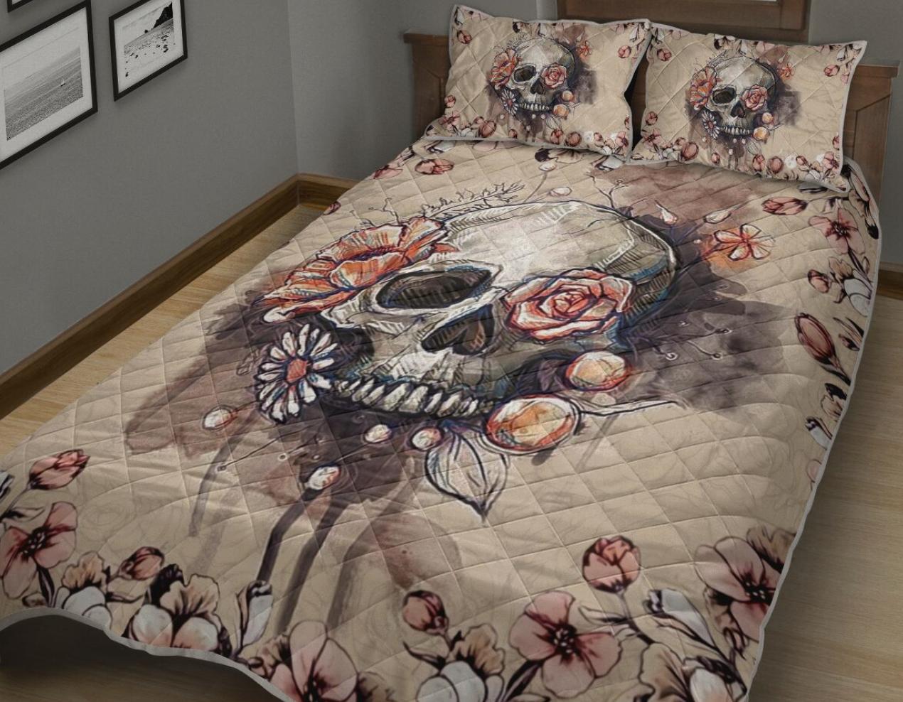 Floral skull bedding set