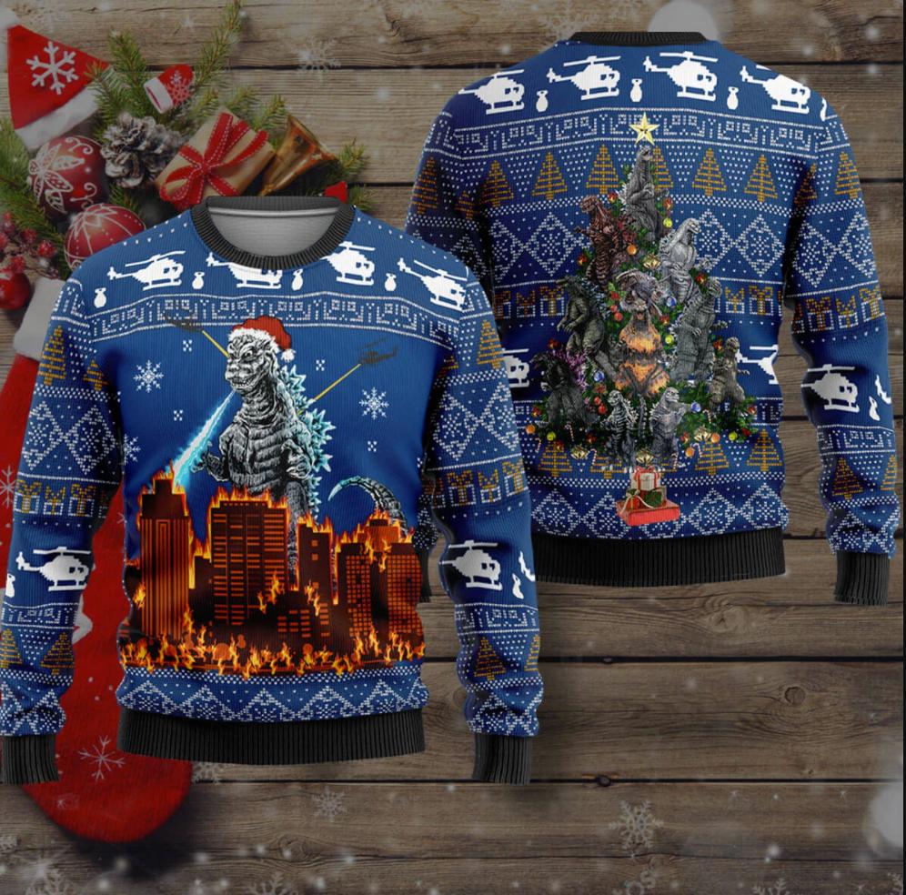 Godzilla Merry Christmas ugly sweater