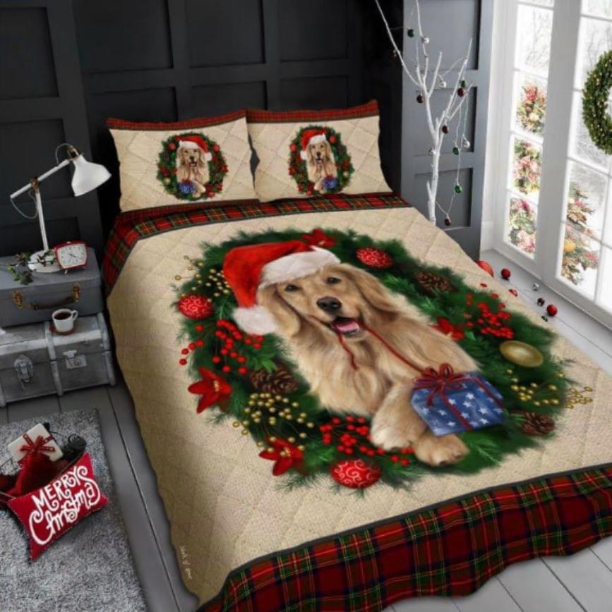 Golden Retriever Merry Christmas bedding set