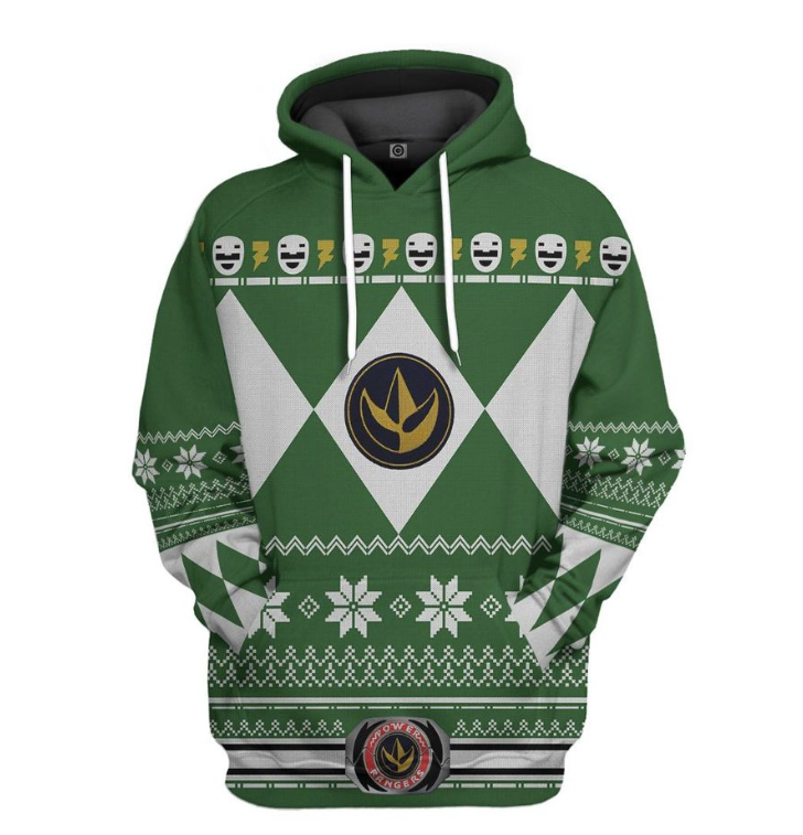 Green power ranger all over printed 3D hoodie