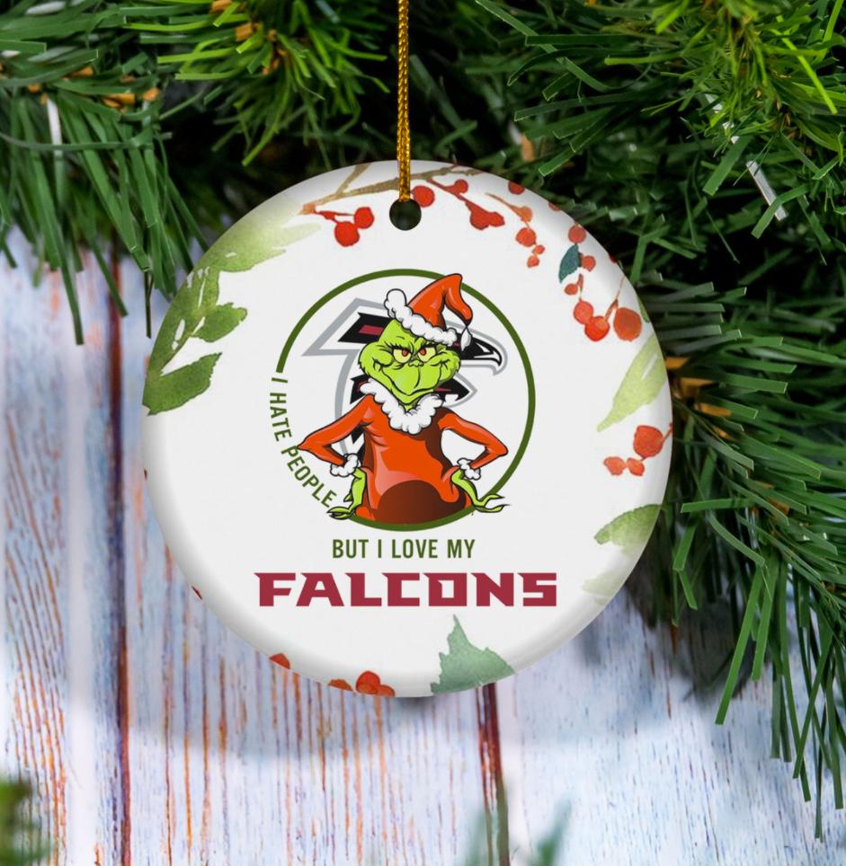 Grinch i hate people but i love Atlanta Falcons Christmas Ornament