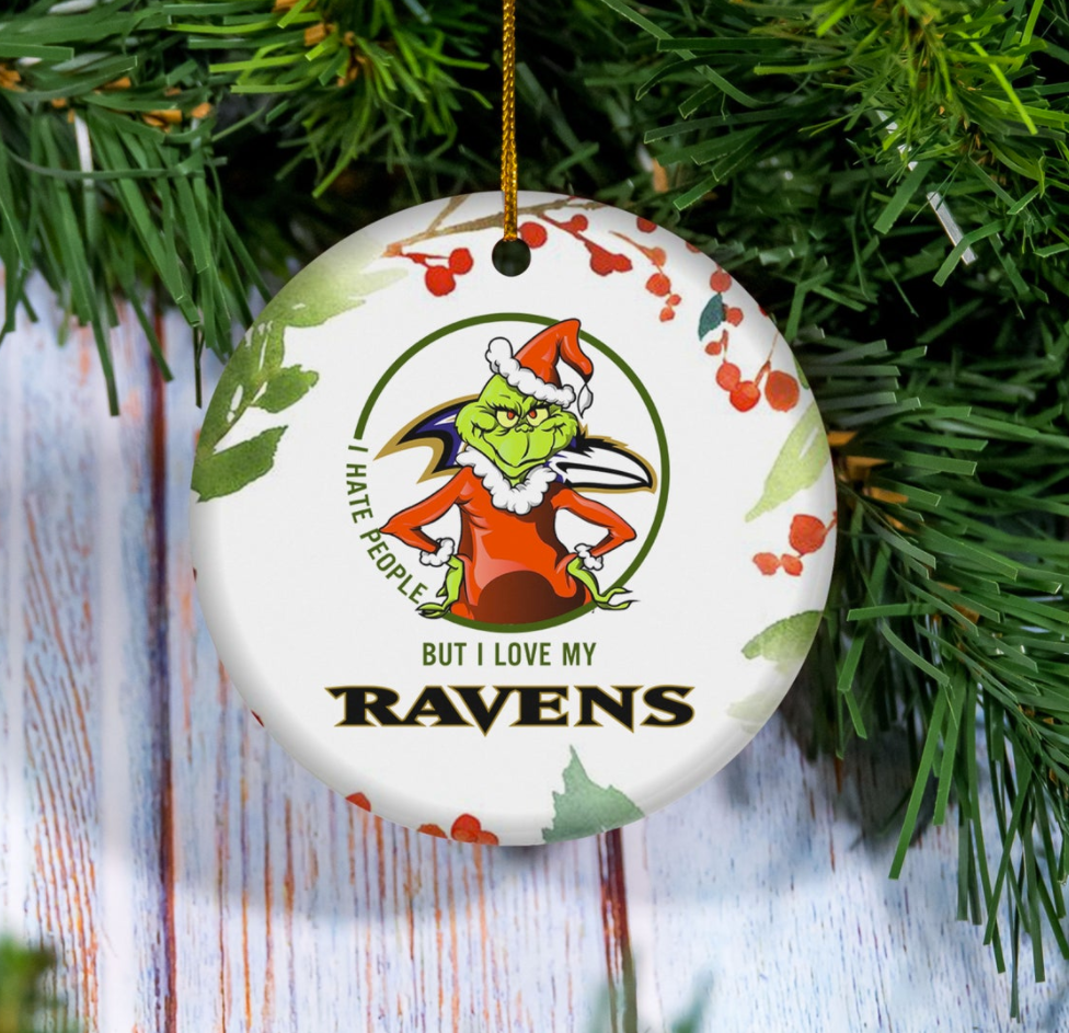 Grinch i hate people but i love Baltimore Ravens Christmas Ornament