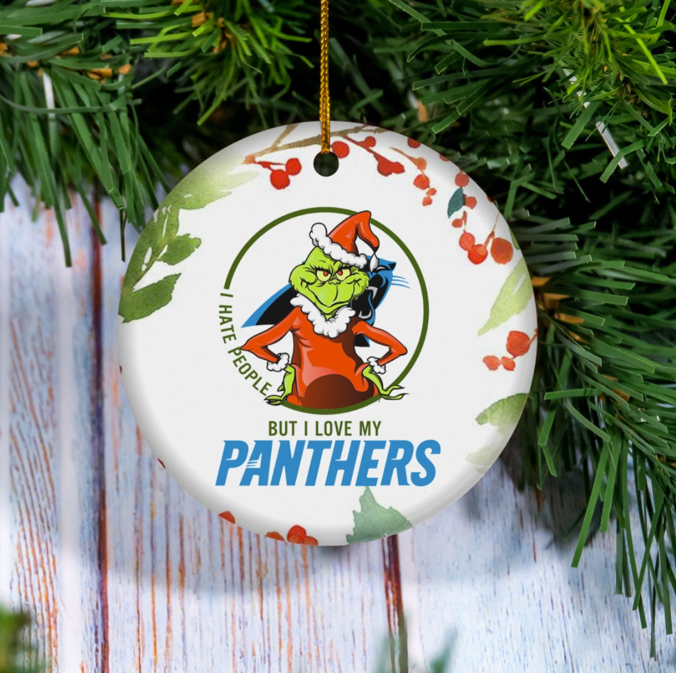 Grinch i hate people but i love Carolina Panthers Christmas Ornament