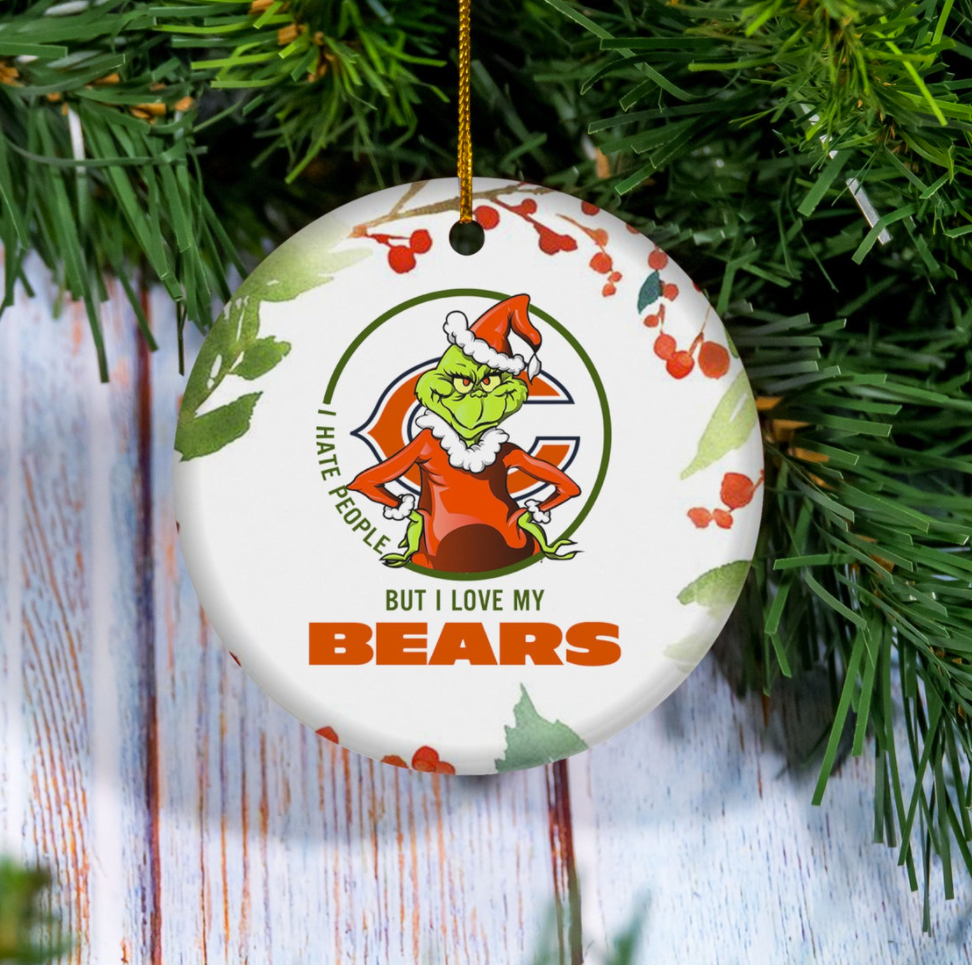 Grinch i hate people but i love Chicago Bears Christmas Ornament