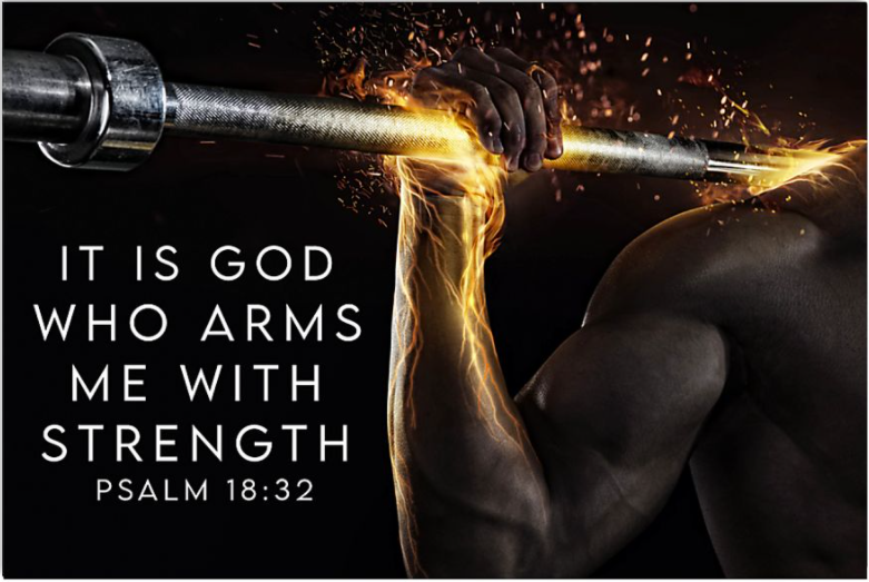 Gym it is god who arms me with strength poster
