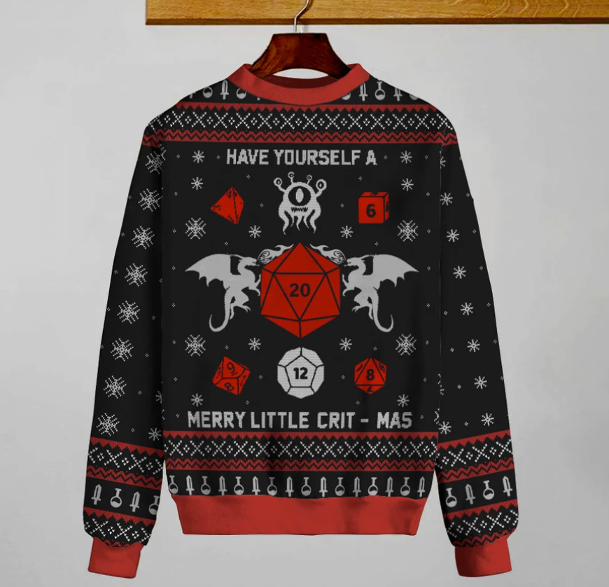 Have yourself a merry little crit-mas ugly sweater