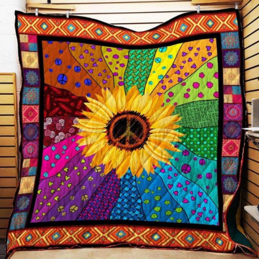 Hippie sunflower quilt