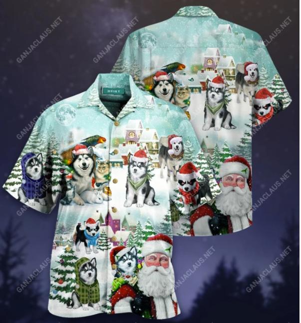 Husky Merry Christmas hawaiian shirt