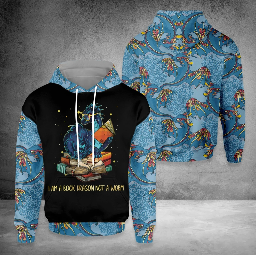 I am a book dragon not a worm all over printed 3D hoodie
